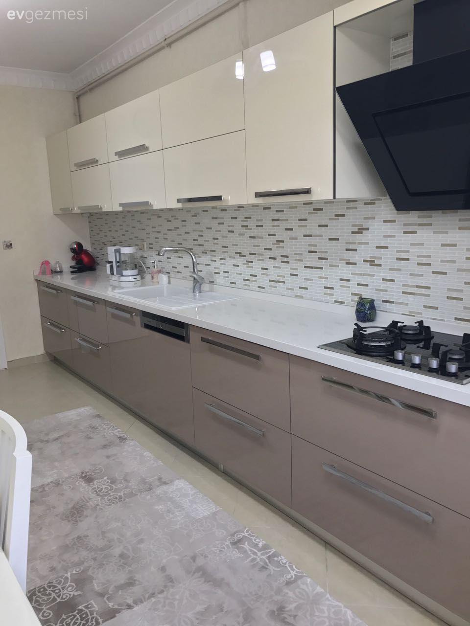 Modern tasar ml k rm z renkli mutfak dekorasyonu modeli - Kapu Ino Mutfak Dolaplar Modelleri