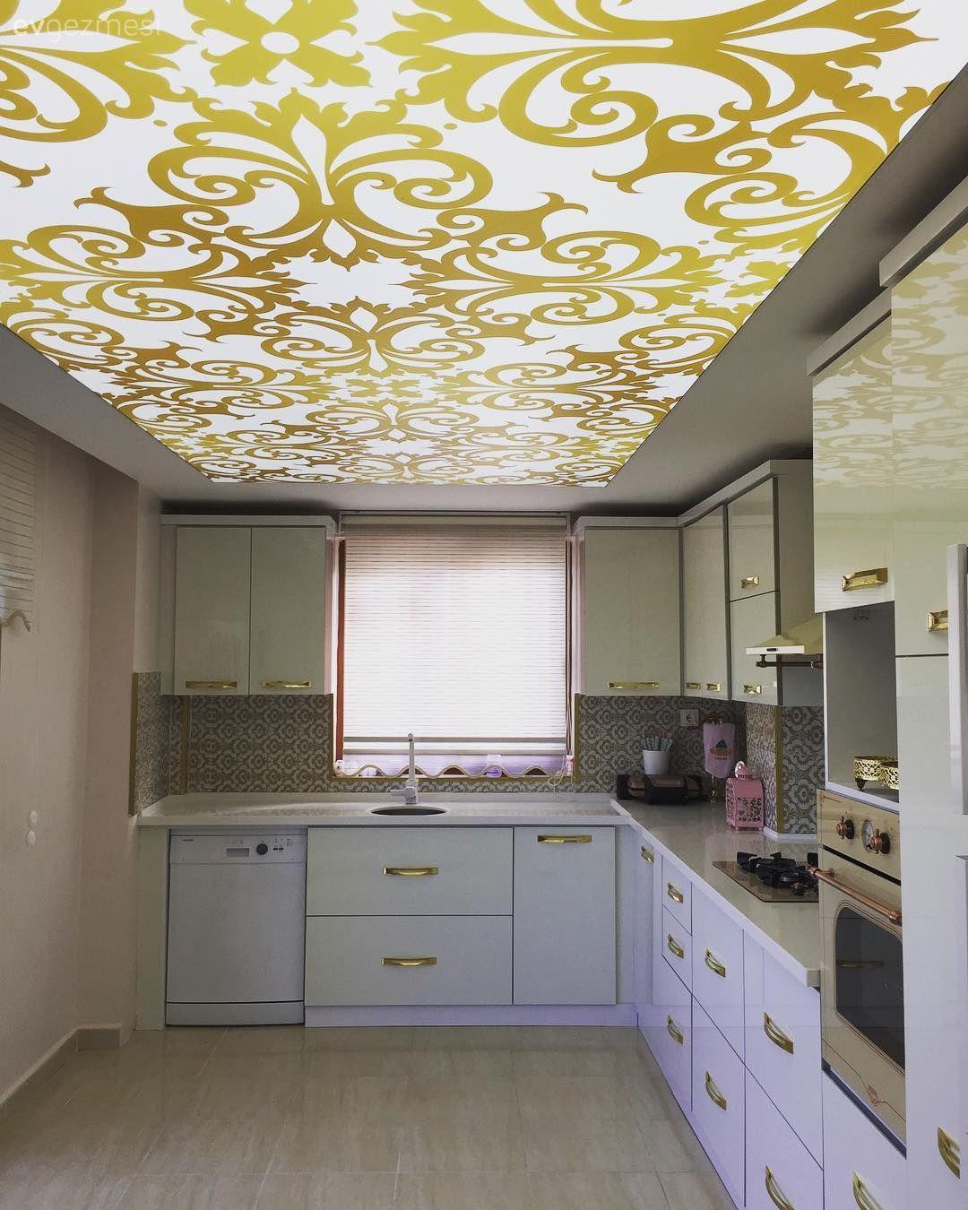 Mutfak Tavan Tasarimlari 5: Gergi Tavan Dekorasyon Fikirleri Ve Fotoğrafları
