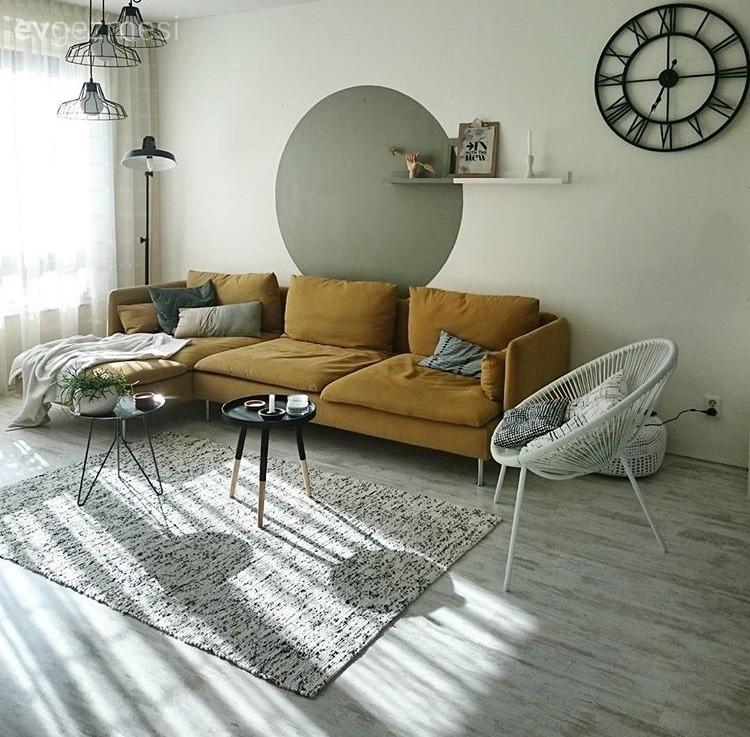 Duvar dekorasyonu, Halı, Ikea, Duvar saati, Salon, Sarı, Yeşil