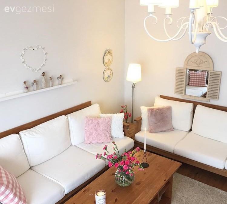 Ahşap Mobilya, Beyaz renk ile dekorasyon, Lambader, Orta sehpa, Salon, Aydınlatma