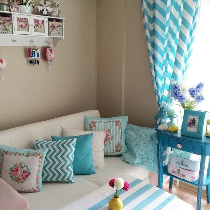 Çiçekli, Dekoratif, Fon perde, Mavi, Minder, Oturma Odası, Yeşil, Perde