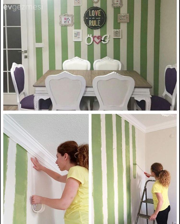 Duvar Kağıdına Ucuz Ve Kolay Alternatif Bant Ile Boyanan Duvarlar